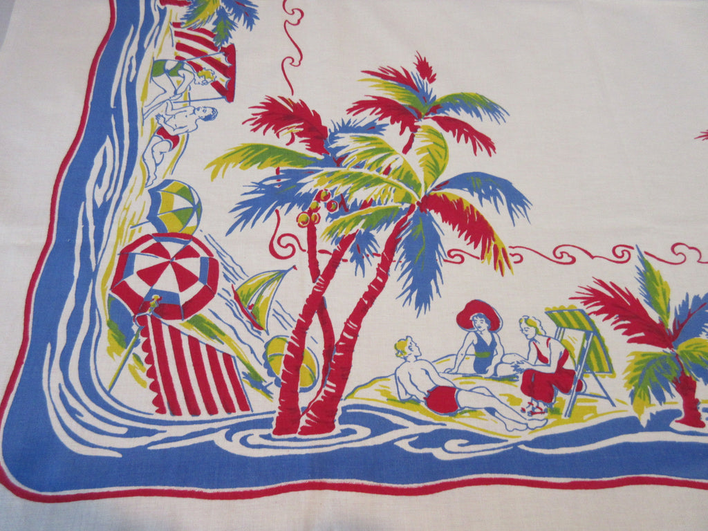 Rare Imperfect Sunbathing Pinups Palm Trees Beach Novelty Vintage Printed Tablecloth (50 X 47)