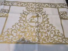 Large Gold Deer Reindeer Fall Holiday MWT Linen Novelty Vintage Printed Tablecloth (80 X 60)