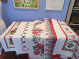 Christmas Cutter Lot B i5938 i3257 i1103 i9098 Vintage Printed Tablecloth