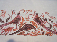 Large Pheasants on Tan Virginia Zito Linen Fall Novelty Vintage Printed Tablecloth (85 X 58)