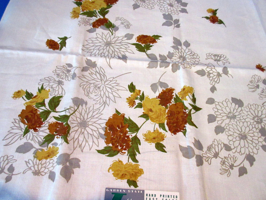 Gold Brown Taupe Fall Chrysanthemums Linen MWT Floral Vintage Printed Tablecloth (52 X 51)