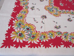 Yellow Green Daisies on Red Floral Vintage Printed Tablecloth (51 X 47)