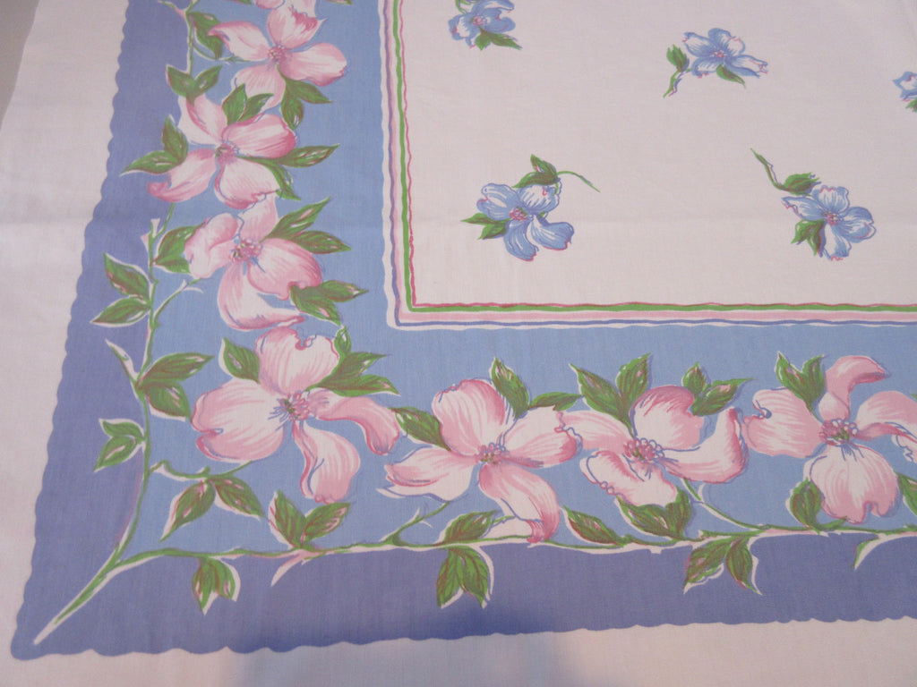 Pink Green Dogwood on Blue Stripes Wilendur? Floral Vintage Printed Tablecloth (54 X 49)