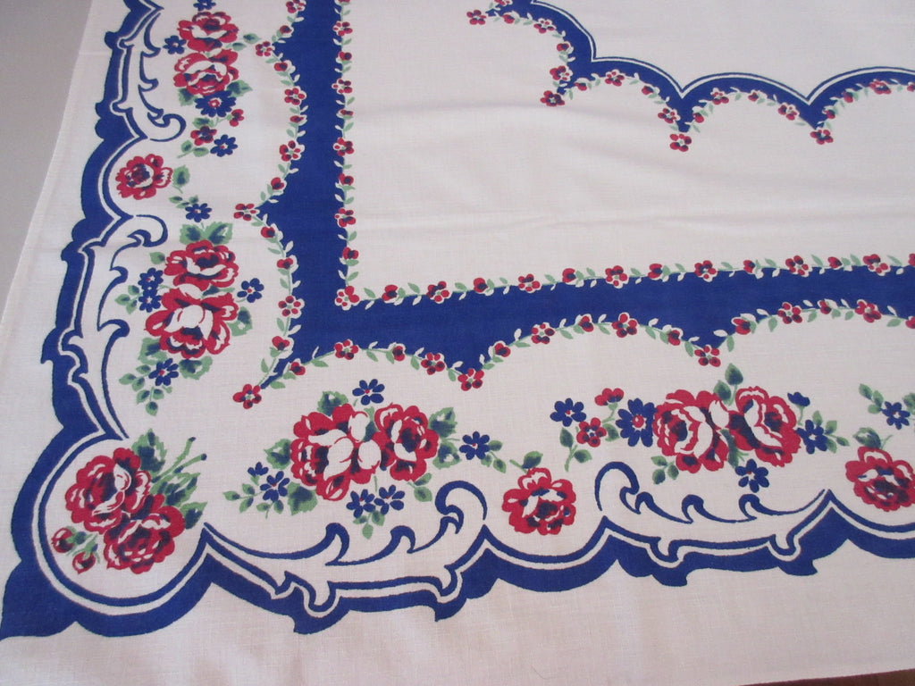 Red Green Roses on Cobalt Blue Textured Floral Vintage Printed Tablecloth (62 X 49)