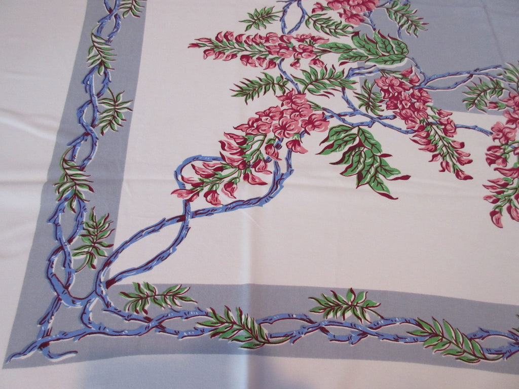 Pink Green Wisteria Blue Ribbons on Gray Floral Vintage Printed Tablecloth (54 X 45)