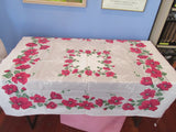 Red Green Hibiscus on Gray Floral Vintage Printed Tablecloth (49 X 45)