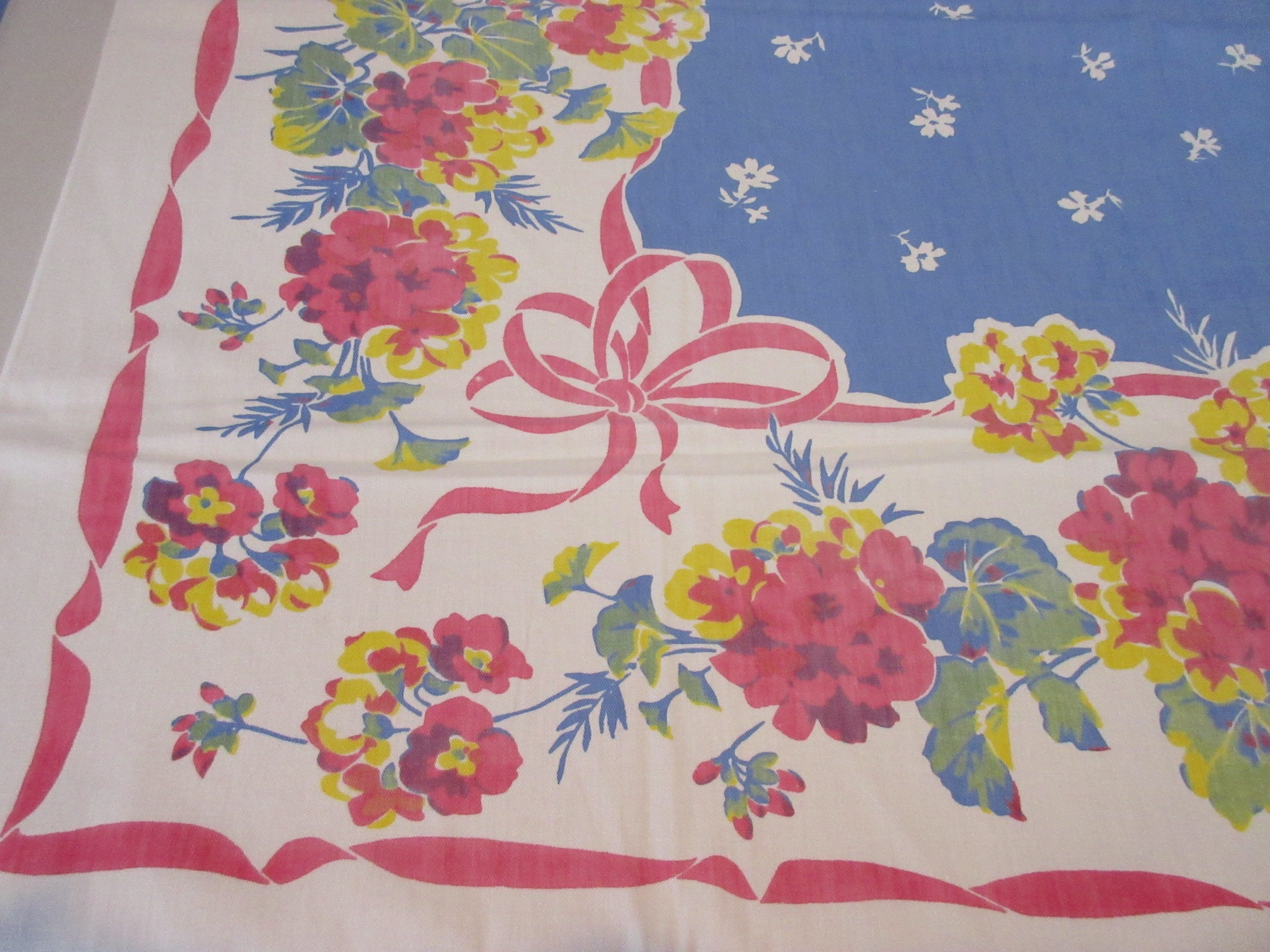 Early Red Yellow Hydrangeas Ribbons on Blue Floral Vintage Printed Tablecloth (50 X 46)