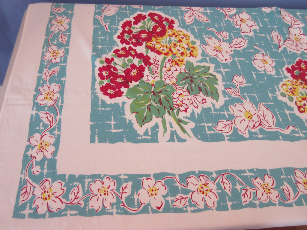 Red Yellow Geraniums on Teal Cutter? Floral Vintage Printed Tablecloth (59 X 52)