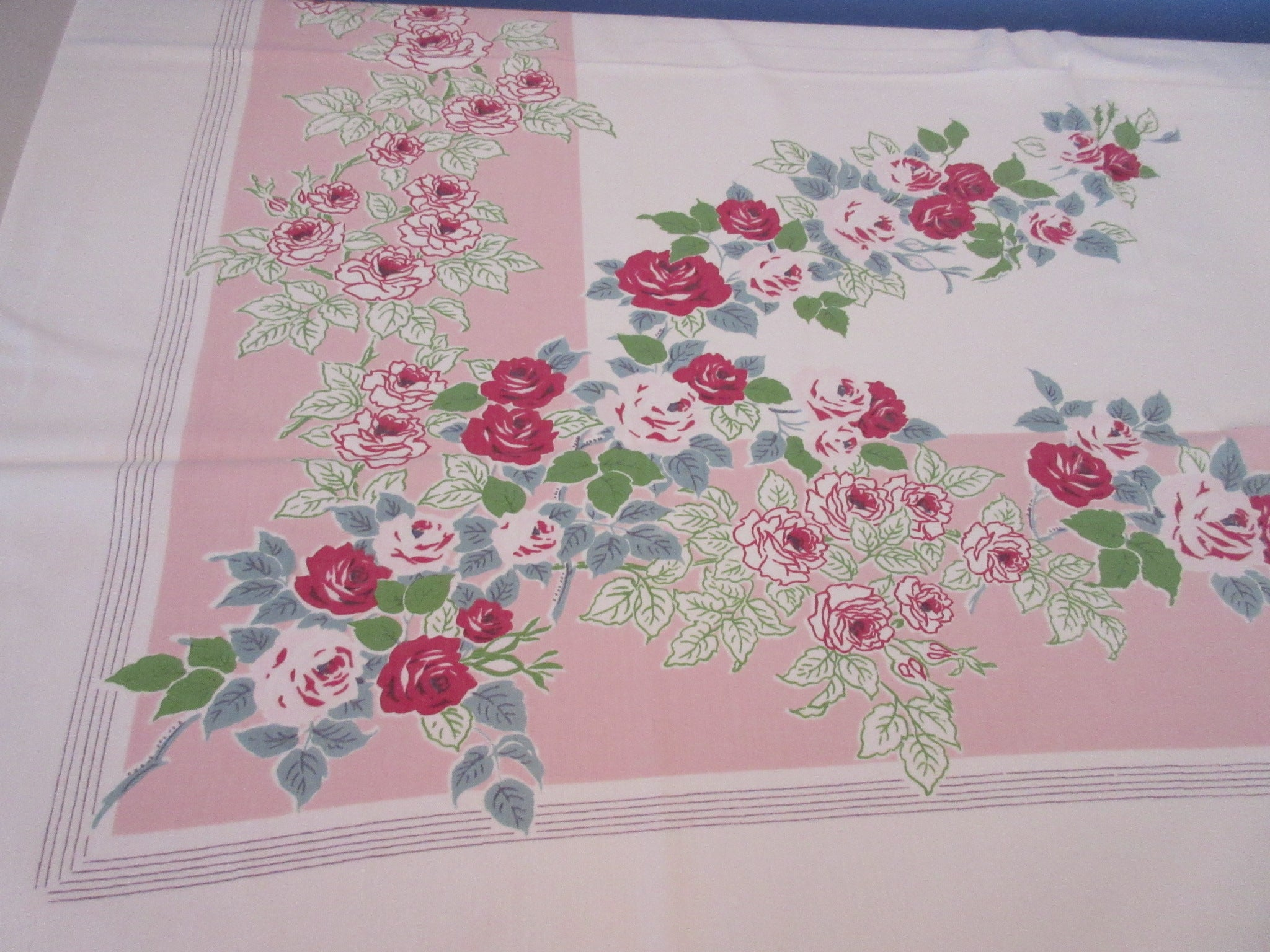 Shabby Red Green Roses on Pink Diagonal Floral Vintage Printed Tablecloth (52 X 45)