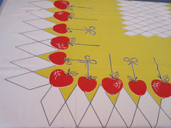 Red Apples Bobbing on Yellow Geometric Fruit Vintage Printed Tablecloth (52 X 45)
