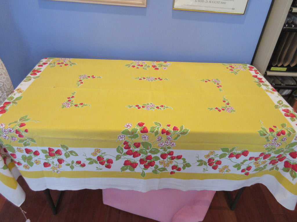 Bright Red Strawberries on Yellow Cutter? Fruit Vintage Printed Tablecloth (62 X 49)