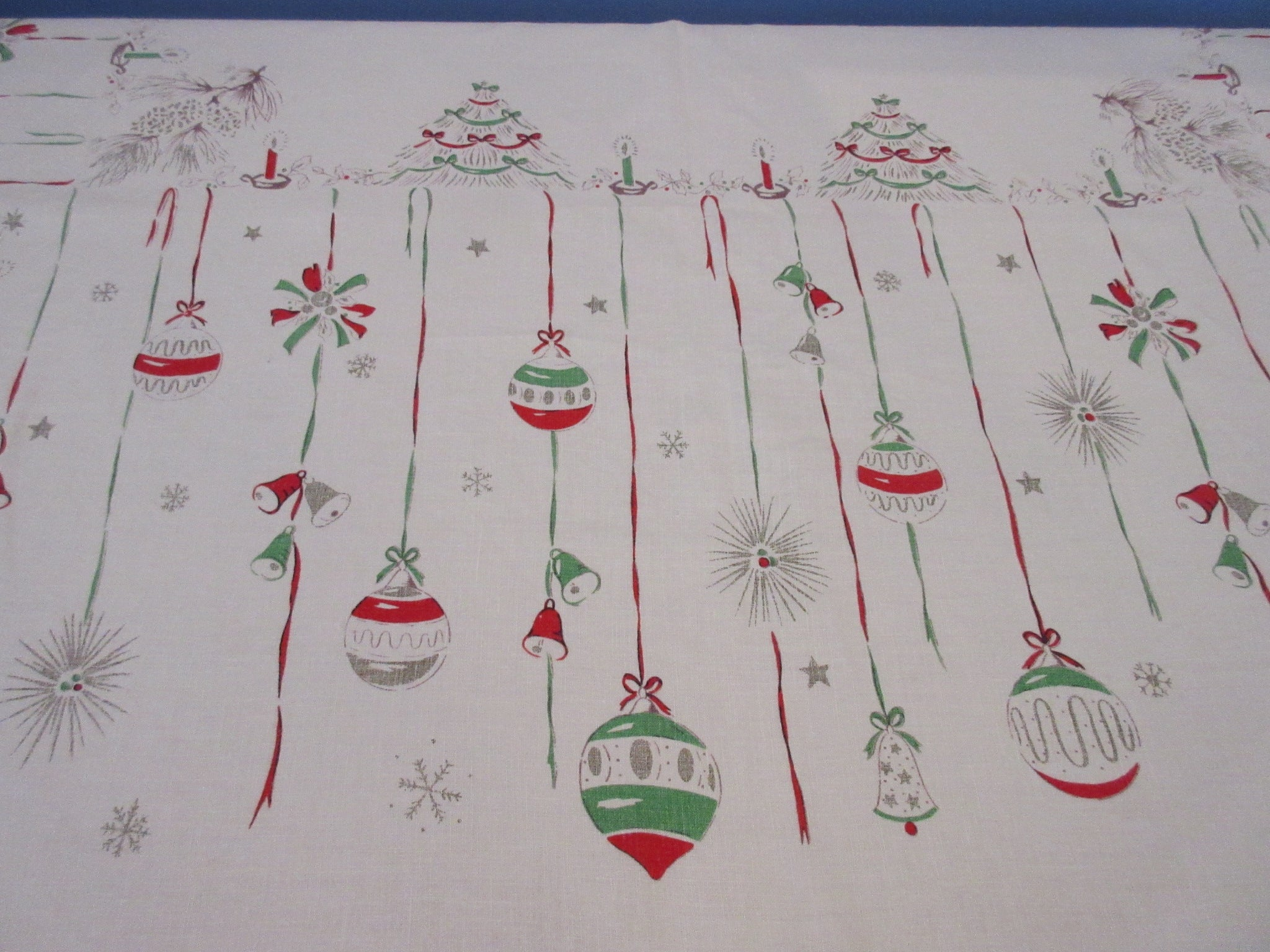 HTF Shabby Primary Falflax Christmas Ornaments Vintage Printed Tablecloth (66 X 51)