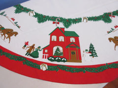 OVAL Christmas Grandmas House 1980s? MWT Vintage Printed Tablecloth (82 X 60)