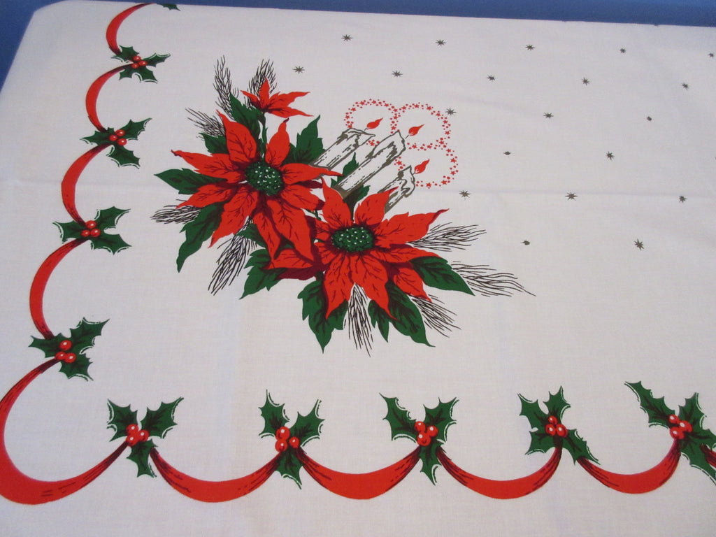 Large Christmas Poinsettia Candle Banquet MWT Vintage Printed Tablecloth