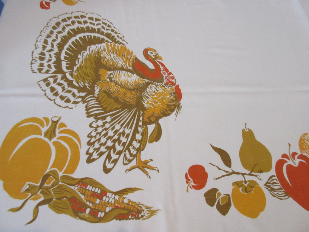 HTF CHP Thanksgiving Turkey Fall Novelty Vintage Printed Tablecloth (63 X 52)