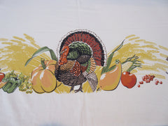 HTF Prints Charming Thanksgiving Turkey Banquet Fall Novelty Vintage Printed Tablecloth (82 X 61)