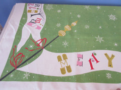 Merry Christmas Funky Letters on Green Shabby Holiday Vintage Printed Tablecloth (66 X 50)