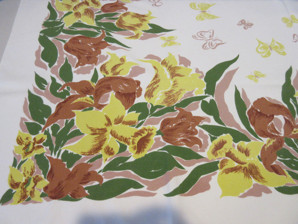 Fall Autumn Iris Tulips Butterflies on Tan Floral Vintage Printed Tablecloth (53 X 46)