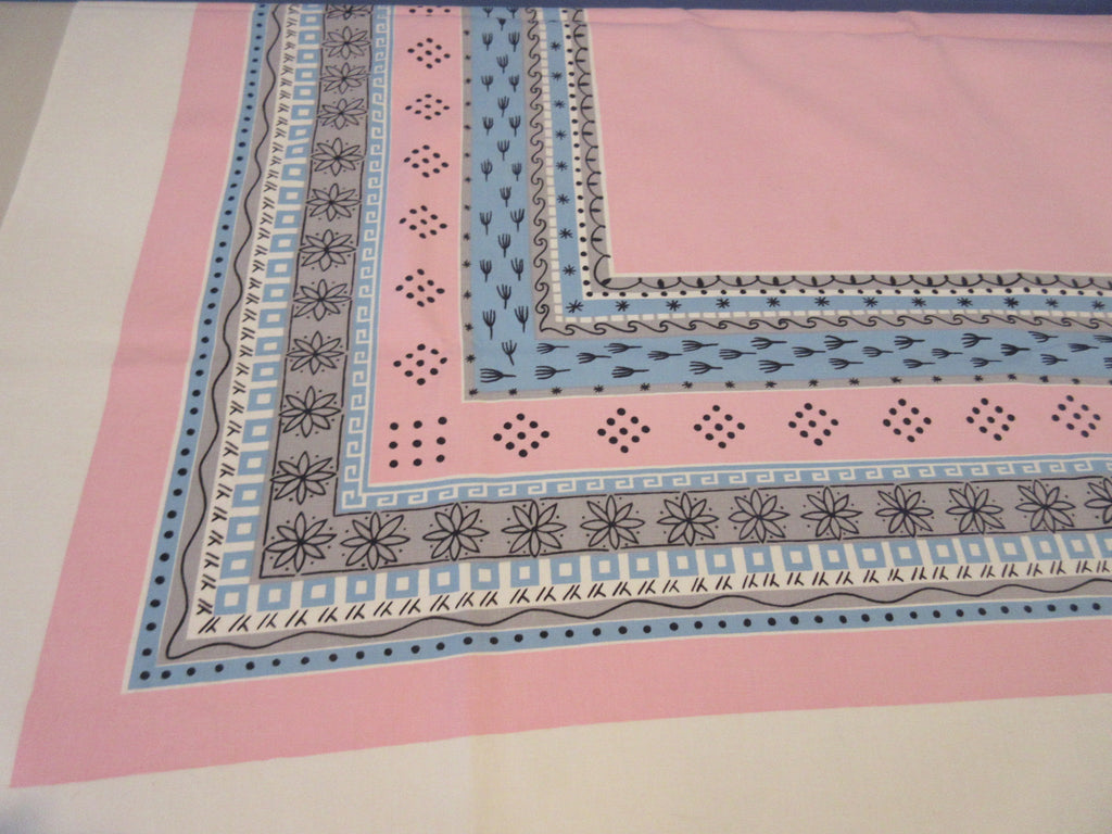 Pastel Blue Pink Gray Chicken Tracks Cutter Novelty Vintage Printed Tablecloth (50 X 46)
