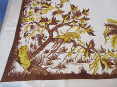 Rare Jungle Animals Early Linen Elephant Giraffe Novelty Vintage Printed Tablecloth (51 X 49)