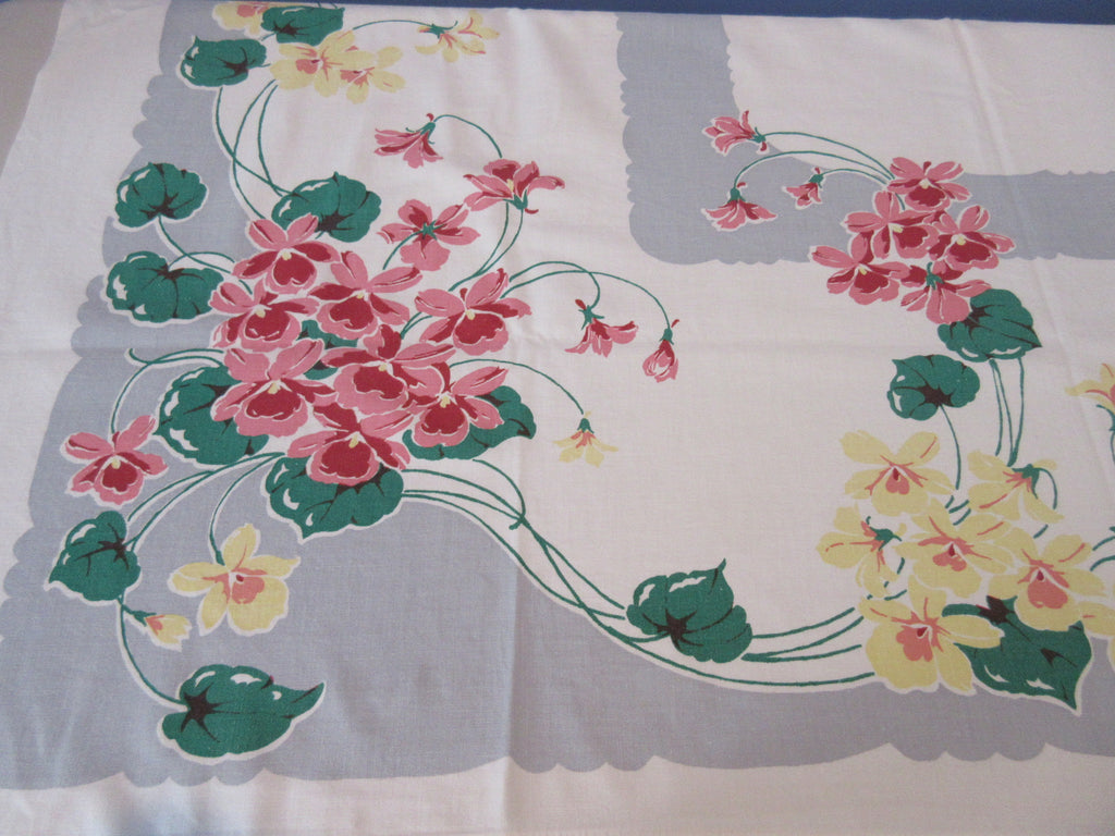 Pink Yellow Nasturtiums on Gray Floral Vintage Printed Tablecloth (54 X 47)