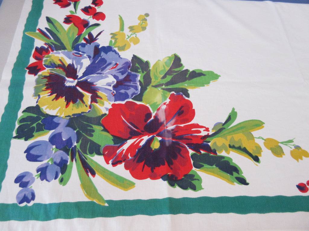 Rare DAMAGED Wilendur Pansy Pansies Floral Vintage Printed Tablecloth (53 X 50)