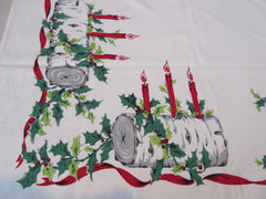 Large Heavier Simtex Yule Log Christmas Vintage Printed Tablecloth (74 X 60)