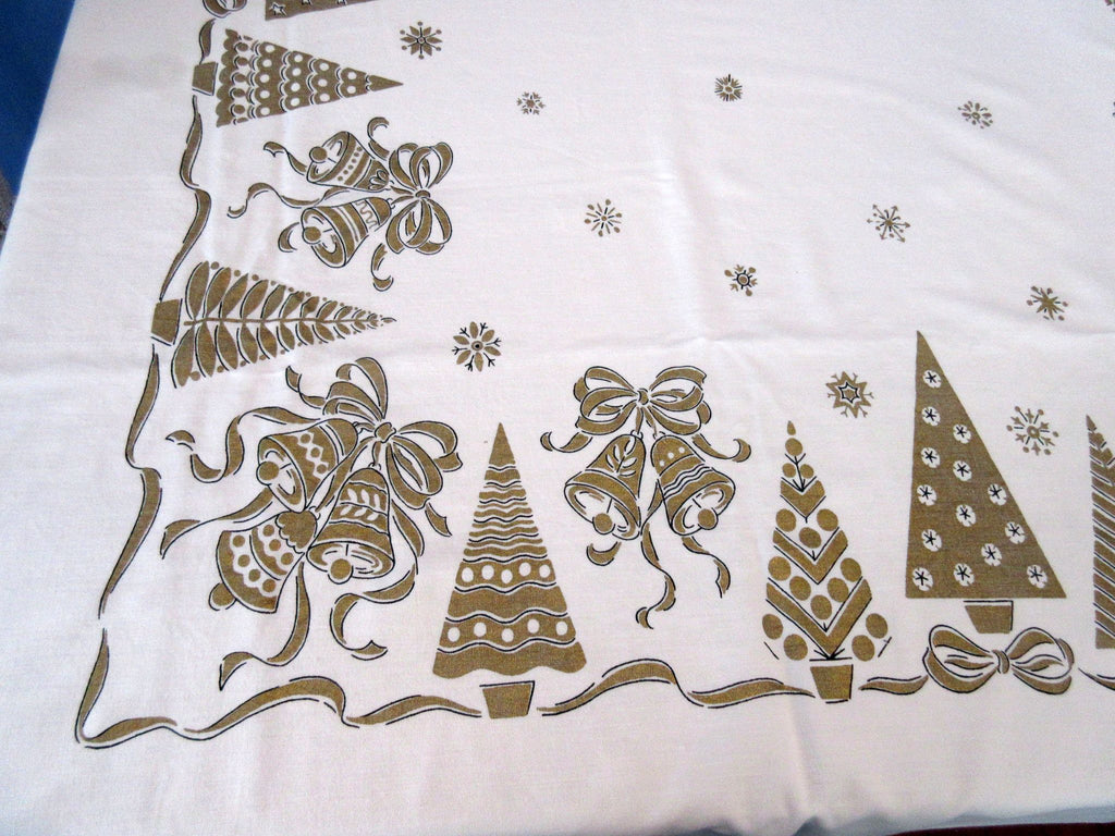 Large Heavier Gold Christmas Trees Napkins NWOT Vintage Printed Tablecloth (79 X 61)