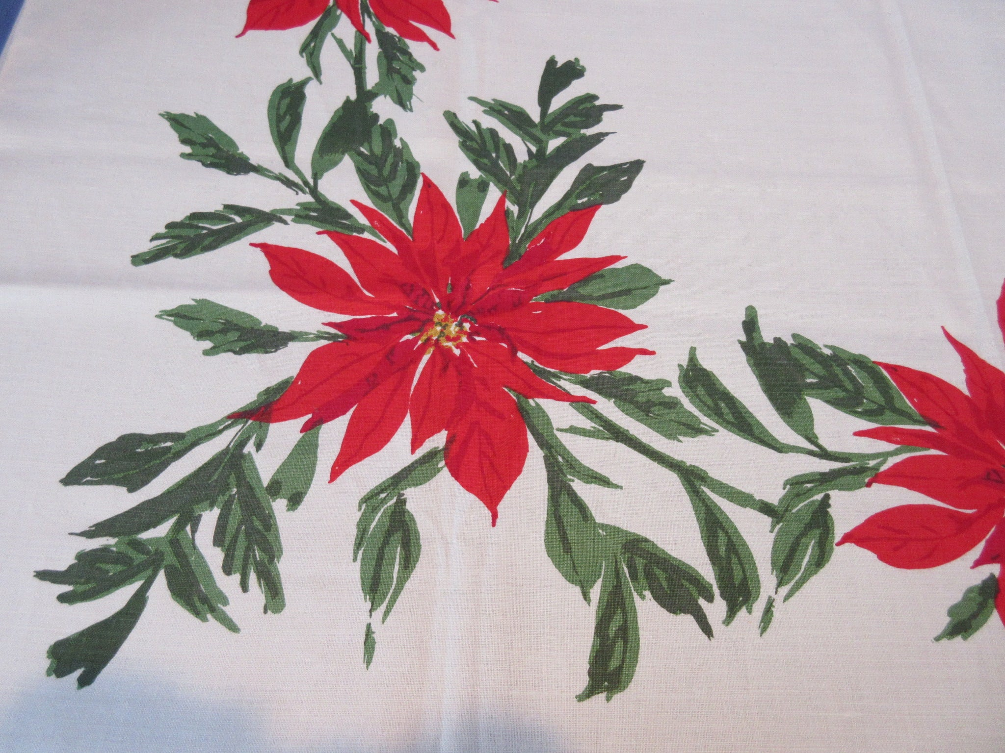 Unwashed VERA Christmas Poinsettia Linen Vintage Printed Tablecloth (52 X 52)