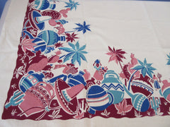 Unwashed Early Pastel Mexican Handprinted Novelty Vintage Printed Tablecloth (50 X 47)