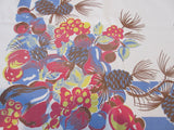 Pinecones Fruit on Blue Cutter Novelty Vintage Printed Tablecloth (50 X 47)