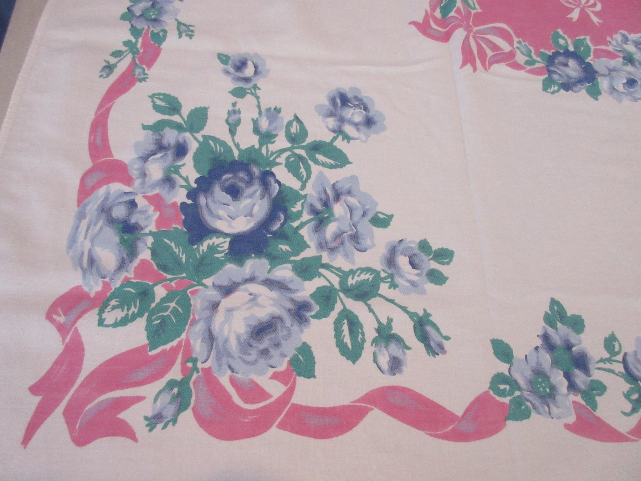 Romantic Blue Roses Pink Ribbons Floral Vintage Printed Tablecloth (64 X 51)
