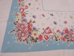 Pastel Pink Flowers on Aqua Cutter? Floral Vintage Printed Tablecloth (63 X 53)