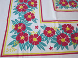 Red Yellow Flowers Butterflies Floral Vintage Printed Tablecloth (52 X 46)