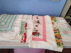 Rayon Florals Cutter Lot F i4153 a1184 i7710 Vintage Printed Tablecloth