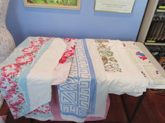 Random novelty floral Cutter Lot H i9145 i0221 a0752 Vintage Printed Tablecloth