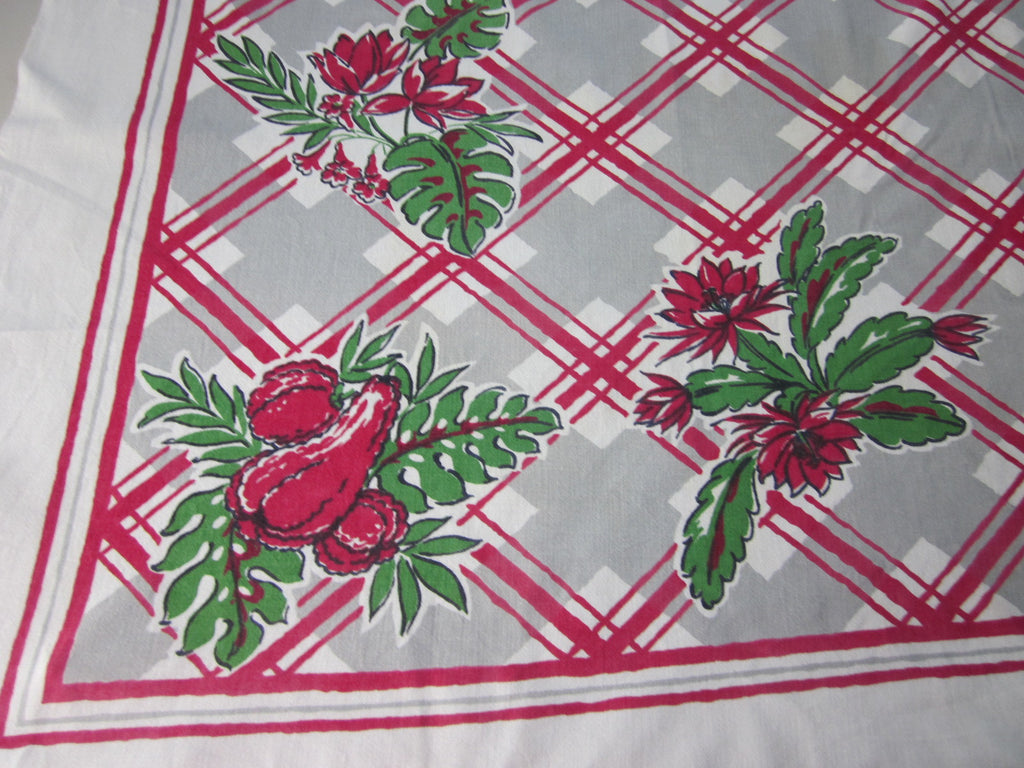 Squash Blossom Plaid Red Green Novelty Vintage Printed Tablecloth (50 X 45)