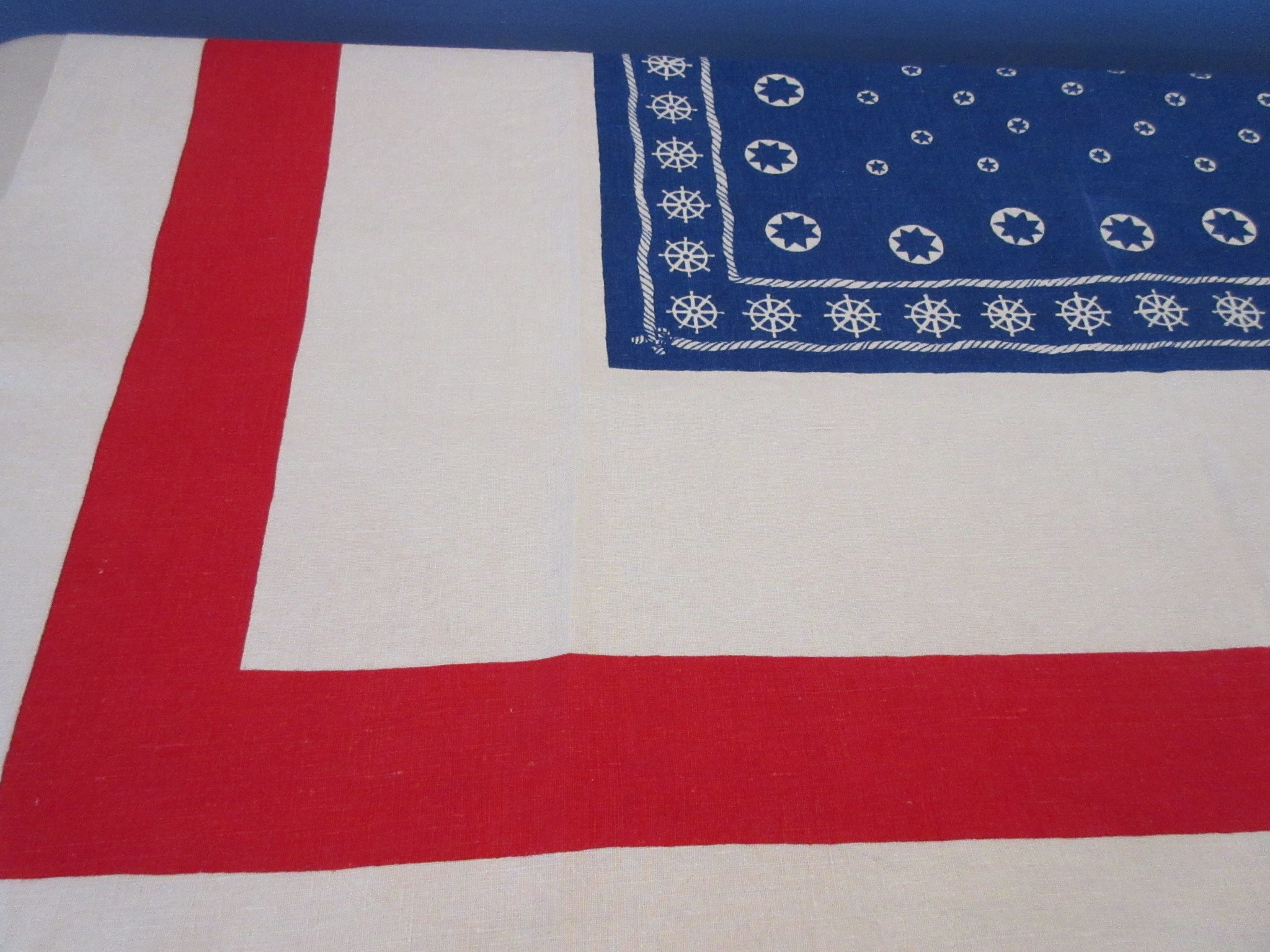 HTF Patriotic Red Blue Nautical Sailing Linen Vintage Printed Tablecloth (53 X 50)