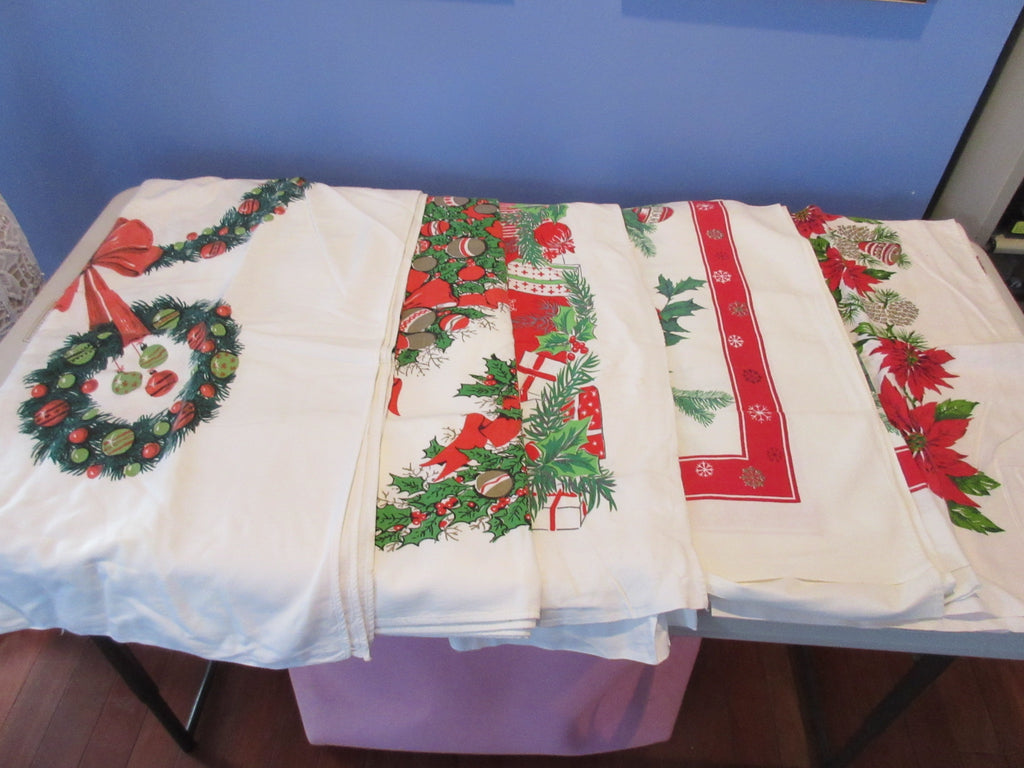 Christmas Cutter Lot H i7435 i7478 i7439 i8931 Vintage Printed Tablecloth