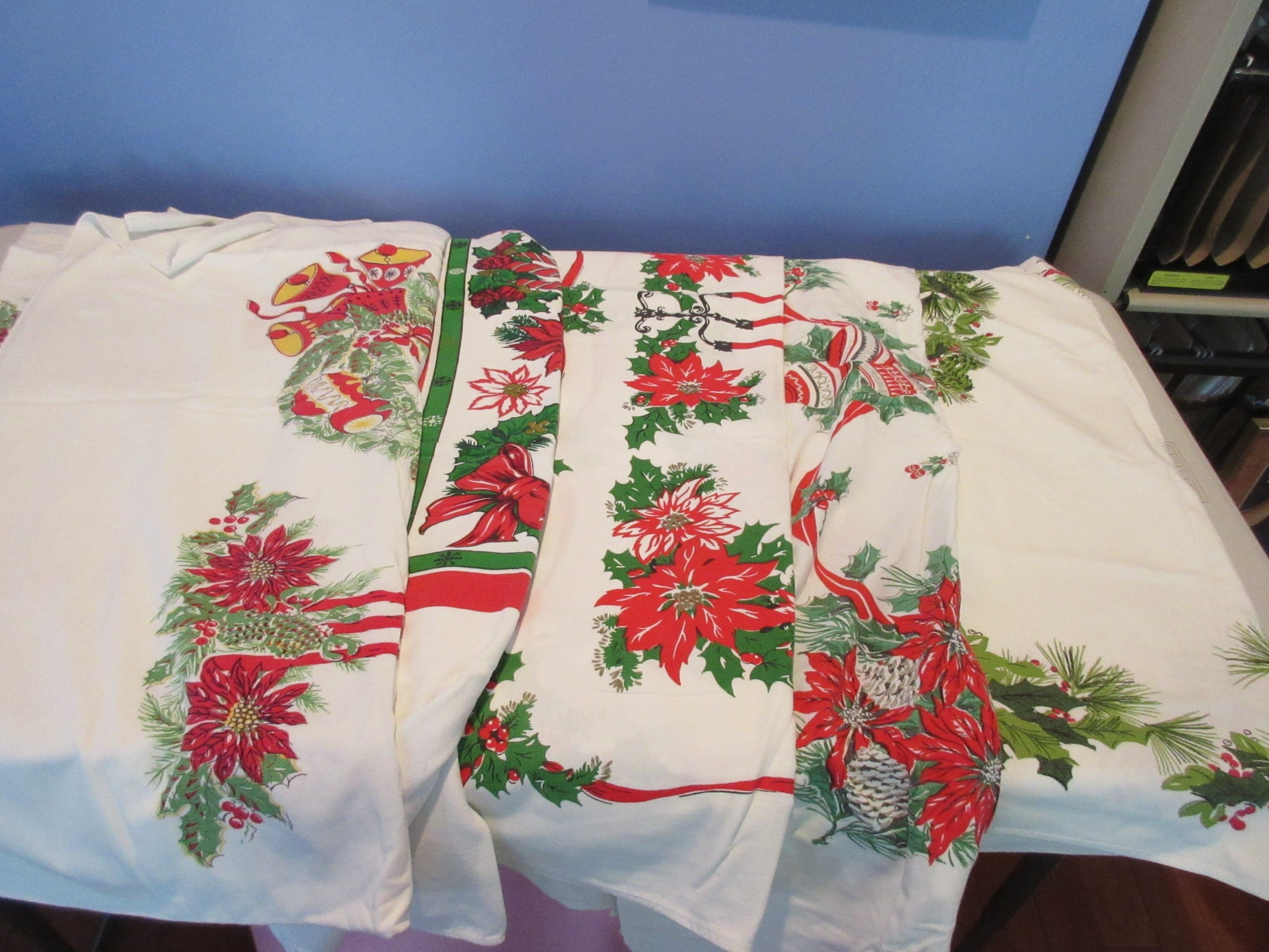 Christmas Cutter Lot j i3711 i1429 i7653 i7402 Vintage Printed Tablecloth