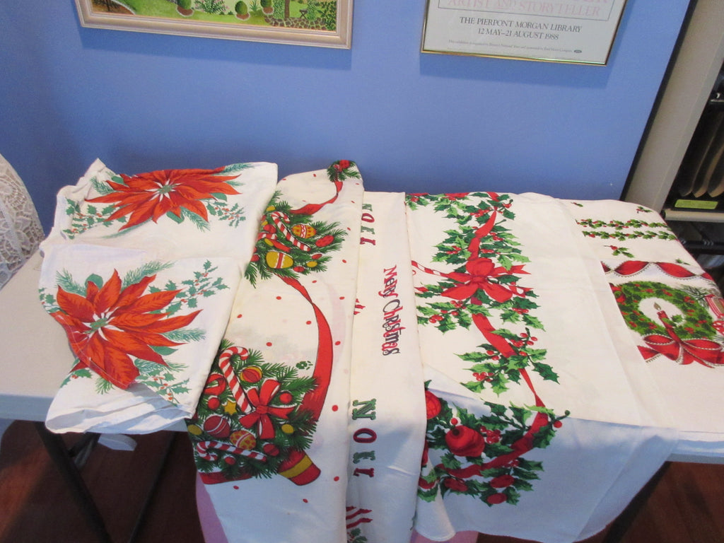 Christmas Cutter Lot k a0561 i1010 i9512 i1111 Vintage Printed Tablecloth