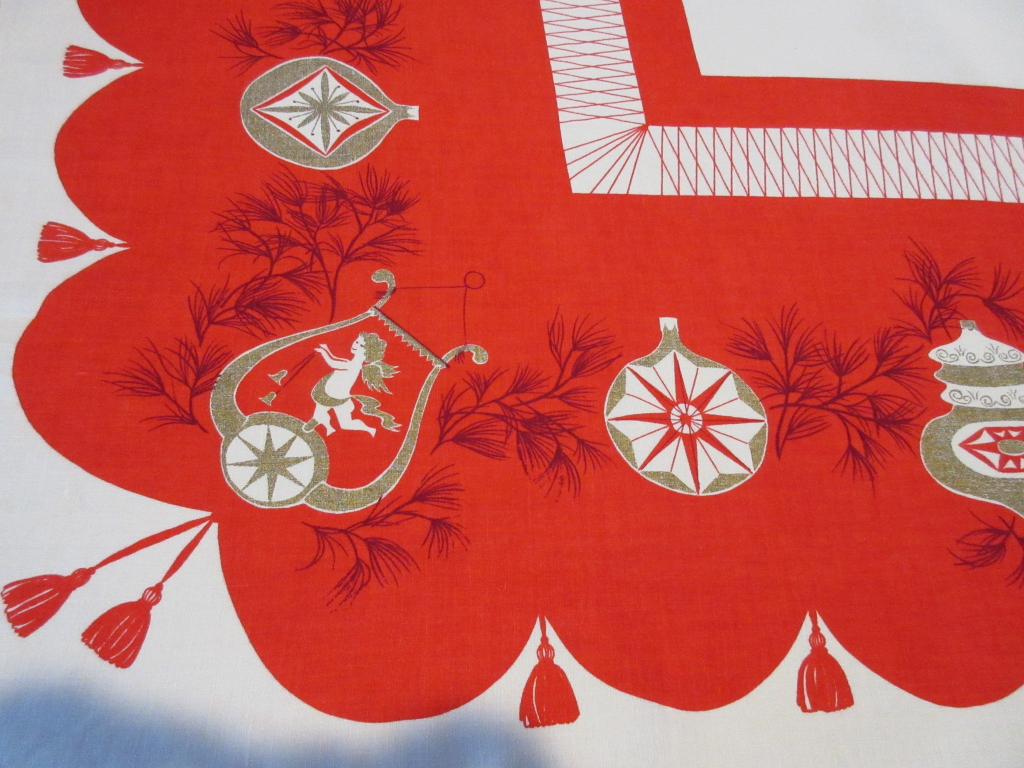 Virginia Zito Gold Christmas Cherubs Harps on Red Holiday Vintage Printed Tablecloth (66 X 50)