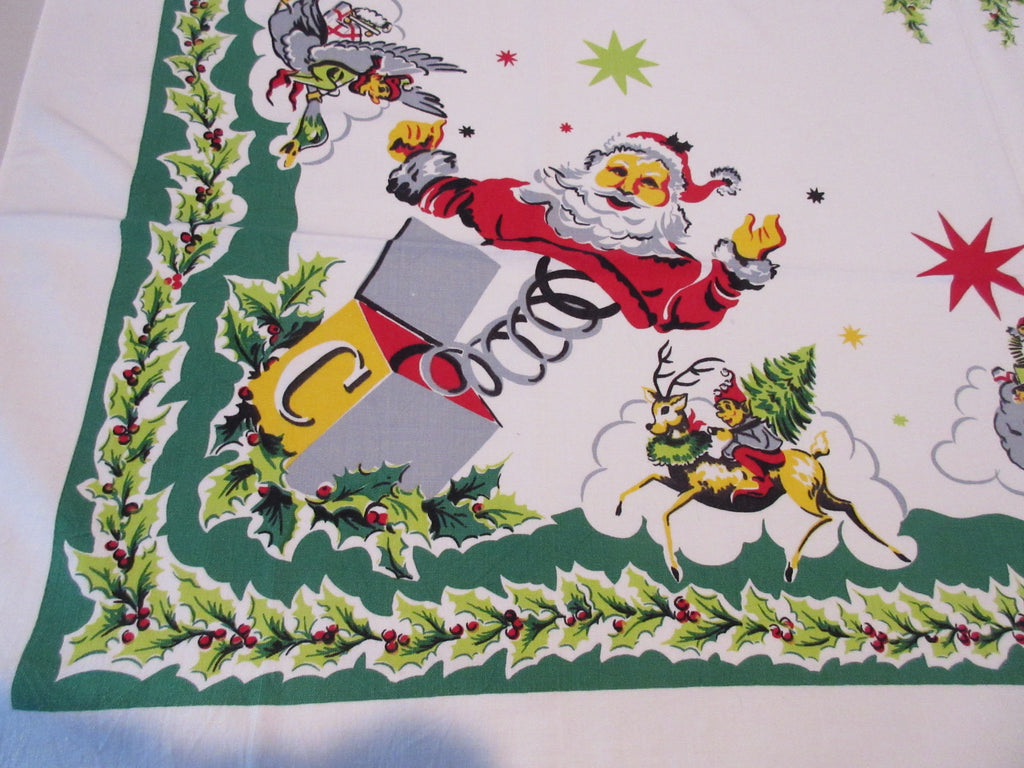 Christmas Santa in a Box Cartoon Simtex SQUARE Holiday Vintage Printed Tablecloth (49 X 46)