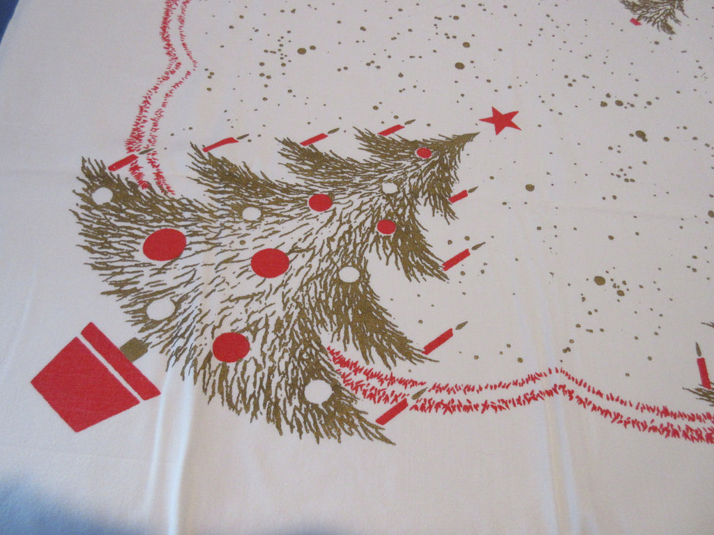 CHP Merry Christmas Gold Red Trees Square Holiday Vintage Printed Tablecloth (53 X 47)