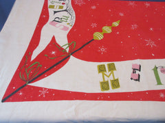 Funky Merry Christmas Banners Red Linen BANQUET Holiday Vintage Printed Tablecloth (87 X 56)