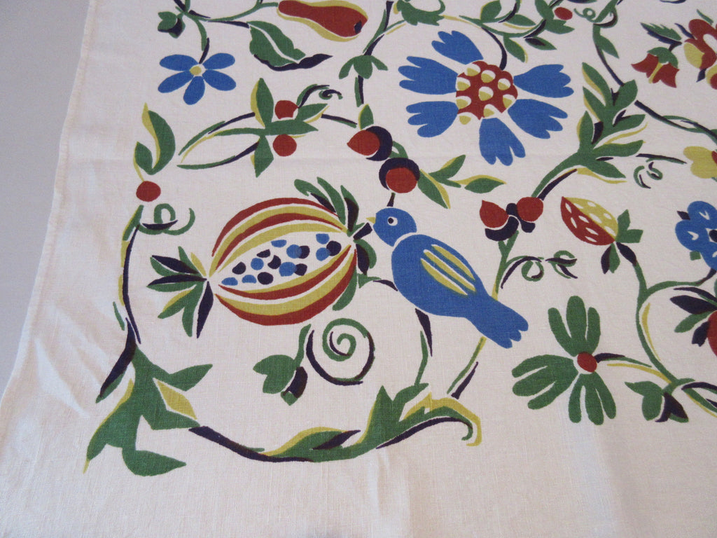 Fall Birds Fruit Floral Tree of Life Unused Novelty Vintage Printed Tablecloth (64 X 51)