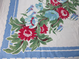 Red Green Diagonal Floral on Blue Vintage Printed Tablecloth (48 X 46)