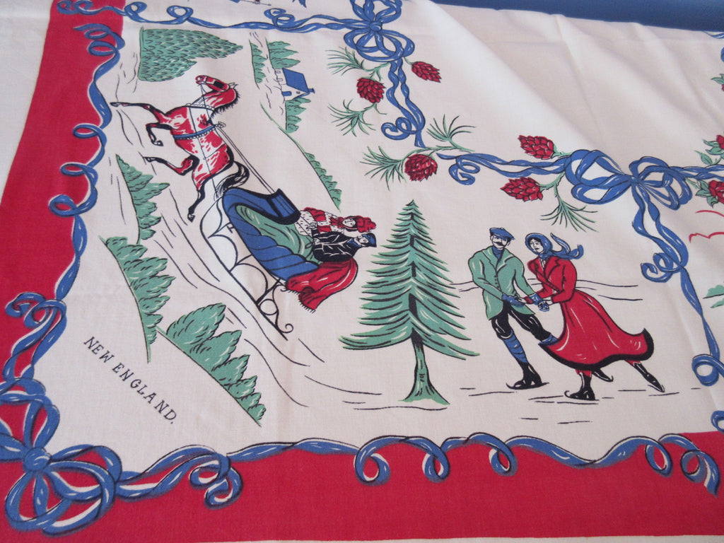 HTF Four Corners American Vignettes Novelty Vintage Printed Tablecloth (54 X 48)