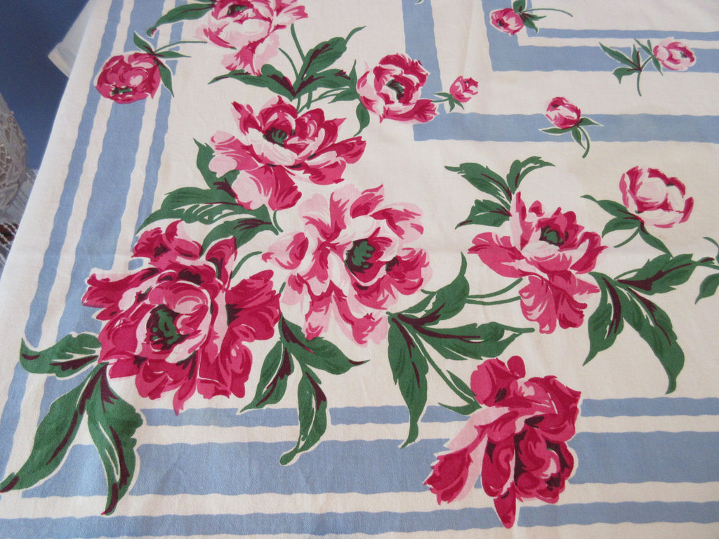 Banquet Pink Green Peonies on Blue Floral Vintage Printed Tablecloth (89 X 64)