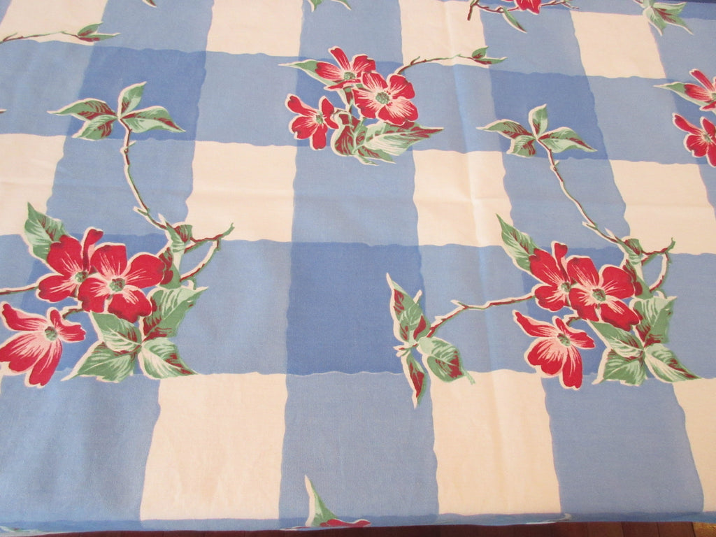 Wilendur Red Dogwood Blue Plaid Floral Vintage Printed Tablecloth (67 X 54)